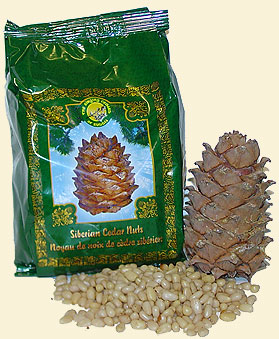 Shelled Siberian pine nuts bearing 'The Ringing Cedars of Russia' brand name.