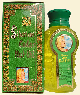 Cedar nut oil (pine nut oil) from Siberian cedar nuts, bearing 'The Ringing Cedars of Russia' brand name.